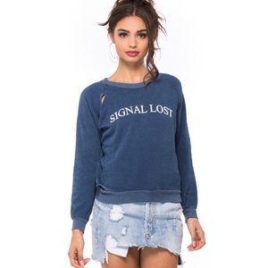 WILDFOX Signal Lost Graphic Distressed Sweatshirt